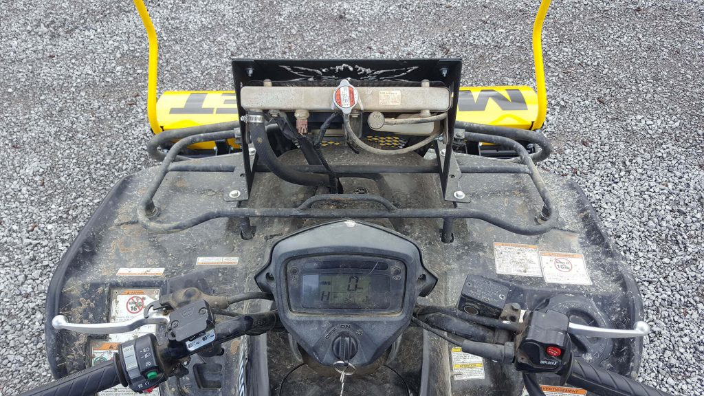 Longhorn magnetic sweeper is completely visible from ATV rider position-bluestreakequipment