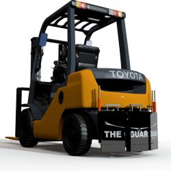Guardian magnet wraps around forklift