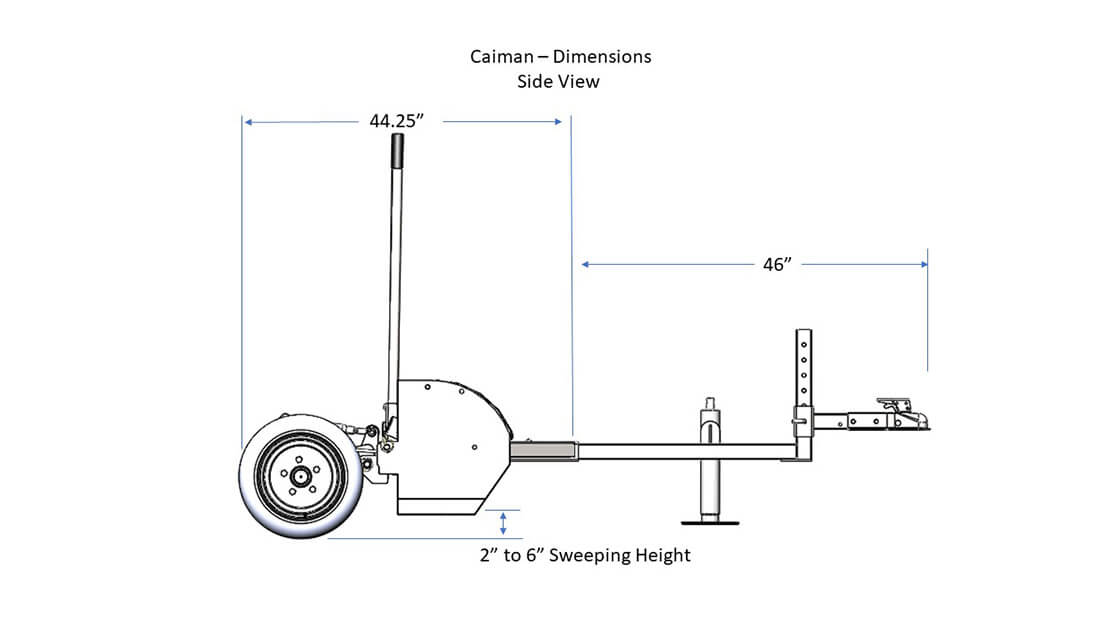 Caiman magnetic sweeper by bluestreak equipment side view
