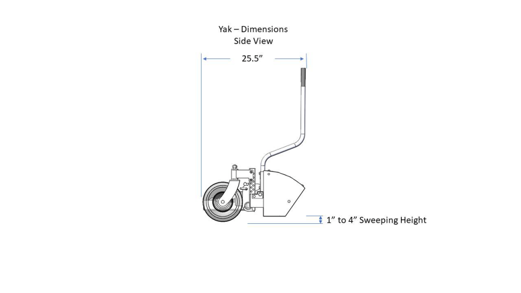YAK magnetic sweeper Dimensions Side View
