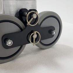 5 inch Thermoplastic rubber wheels mounted on a black steel removeable bracket