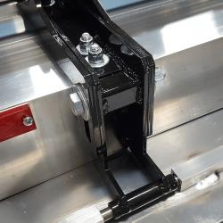 Piranha height adjustment mechanism provides_ 1.75 inch of adjustment