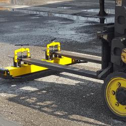 Bluestreak Equipment OBLAST forklift magnetic sweeper
