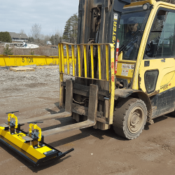 Forklift magnetic sweeper OBLAST Series by Bluestreak Equipment