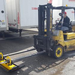 Forklift magnetic sweeper by Bluestreak Equipment