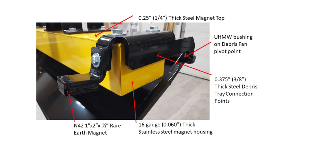 Oblast magnetic sweeper debris pan features 2