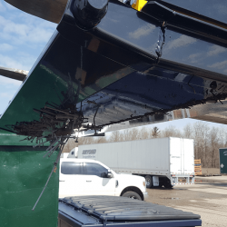 Rounded bottom of OBLAST forklift magnet to prevent damage during ground strikes