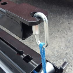 Blue actuator rope connection point to optional hanging bracket accessory for Alpha magnetic sweeper