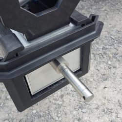 Stainless steel axle on Alpha hanging magnetic sweeper