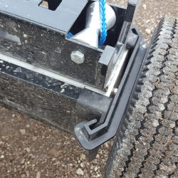end view of Alpha hanging magnetic sweeper by Bluestreak Equipment