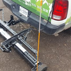 rear hitch mounted hanging magnetic sweeper by Bluestreak Equipment